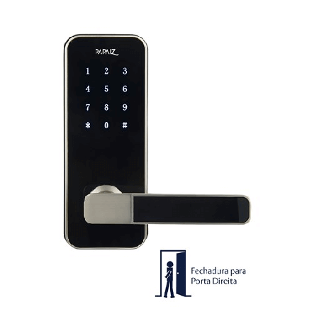 Fechadura Digital Papaiz Smart Lock  Prata - Lado Direito