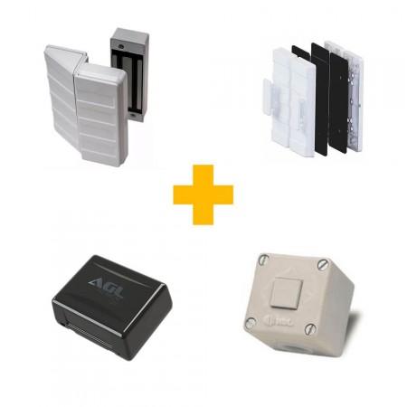 Kit Fechadura Eletroímã AGL com fonte Nobreak p/ Porta de Vidro