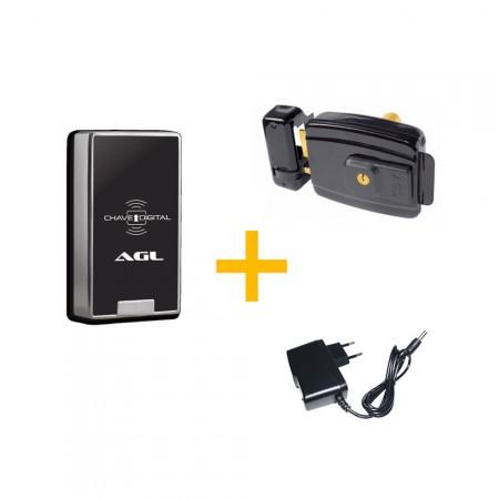 Kit Controle de Acesso AGL CA2000 + Fechadura AGL-Inha Mini c/ Fonte FC 12V