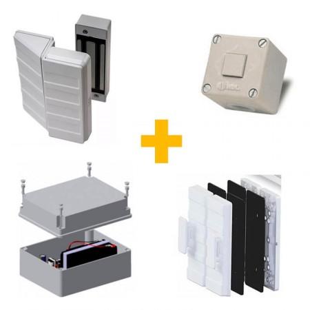 Kit Fechadura Eletroímã AGL AL-150 c/ Suporte Porta de Vidro, Botoeira e Nobreak
