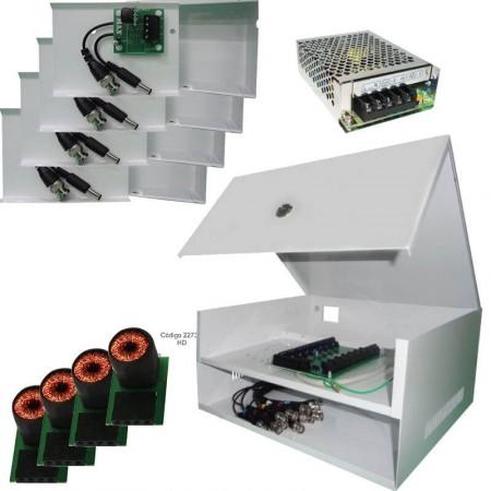 Kit Rack HD CFTV 4 Canais Max Eletron com Balun e Fonte