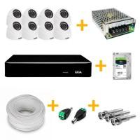 Kit CFTV com 8 Câmeras HVR Giga GS0181 + Gravador Digital 720p Giga GS0019