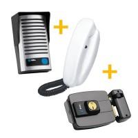 Kit Interfone Porteiro Eletrônico HDL F8 NTL + Fechadura Elétrica HDL C-90 Cinza