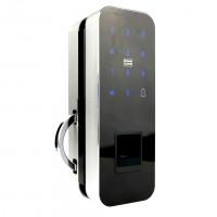 Fechadura Digital Unee Bio Glass Slide Prata  p/ Porta de Vidro de correr