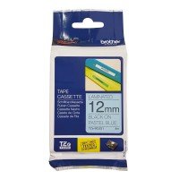 Fita Brother TZE-MQ531 12mm Preto sobre Azul Pastel